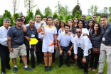 Aga Khan Park volunteers gather with Leila Keshavjee, who carried the Pan Am flame. Ismaili Council for Canada