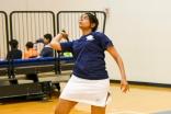 Salma Amlani returns a serve in badminton at the 2015 US Ismaili Games. Azim Maknojia