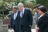 Canadian Prime Minister Stephen Harper receives a tour of the Ismaili Centre in Vancouver. Sultan Baloo