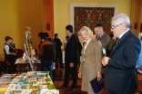 US Ambassador Elizabeth Millard and the First Deputy Minister Rahmatullo Mirboboev look at the educational material on display by the Aga Khan Foundation at the Ismaili Centre, Dushanbe. Rukhshona Broimshoeva