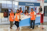 Hospitality desk volunteers answered questions and offered directions and tips to the thousands of people attending the Jubilee Games in Dubai. JG