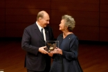 Adrienne Clarkson presents Mawlana Hazar Imam with the Adrienne Clarkson Prize for Global Citizenship in Toronto's Koerner Hall. Vazir Karsan