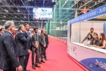 Prince Rahim accompanied by Jamati leaders view the Jubilee Store at Dubai Sports World at the 2016 Jubilee Games. JG/Aly Ramji
