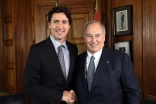 Canadian Prime Minister Justin Trudeau and Mawlana Hazar Imam at the Parliament Hill in Ottawa. Zahur Ramji