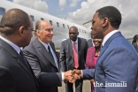 Mawlana Hazar Imam greets Dar es Salaam Regional Commissioner Mr. Paul Makonda at Julius Nyerere Airport.