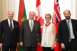 Prince Amyn, and Prince Hussain join Mawlana Hazar Imam and Premier Wynne at Queen's Park for the signing of the Agreement of Cooperation.