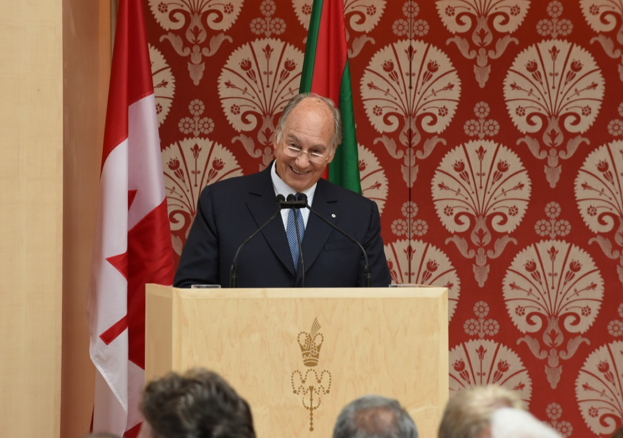 """Yes! We are a community that welcomes the smile,"" Mawlana Hazar Imam tells the gathering at the opening of the Ismaili Centre, Toronto. Gary Otte"