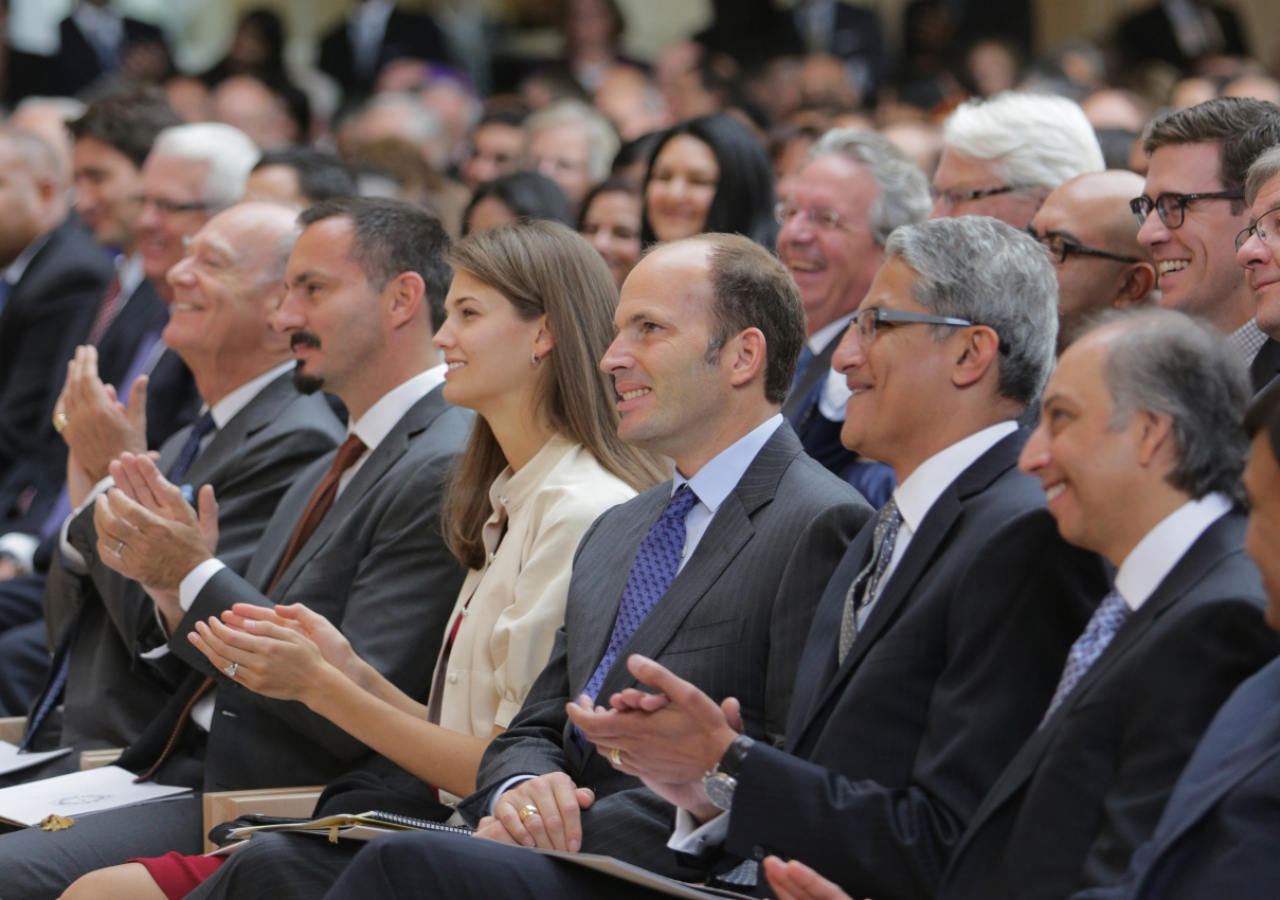 Prince Amyn, Prince Rahim, Princess Salwa, Prince Hussain, Ismaili Council for Canada President Malik Talib, and Ismaili Leaders International Forum Chairman Mahmoud Eboo at the opening of the Ismaili Centre, Toronto. Mo Govindji