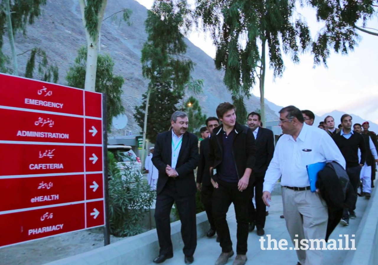 Prince Aly Muhammad arrives at the Aga Khan Medical Centre, Gilgit.