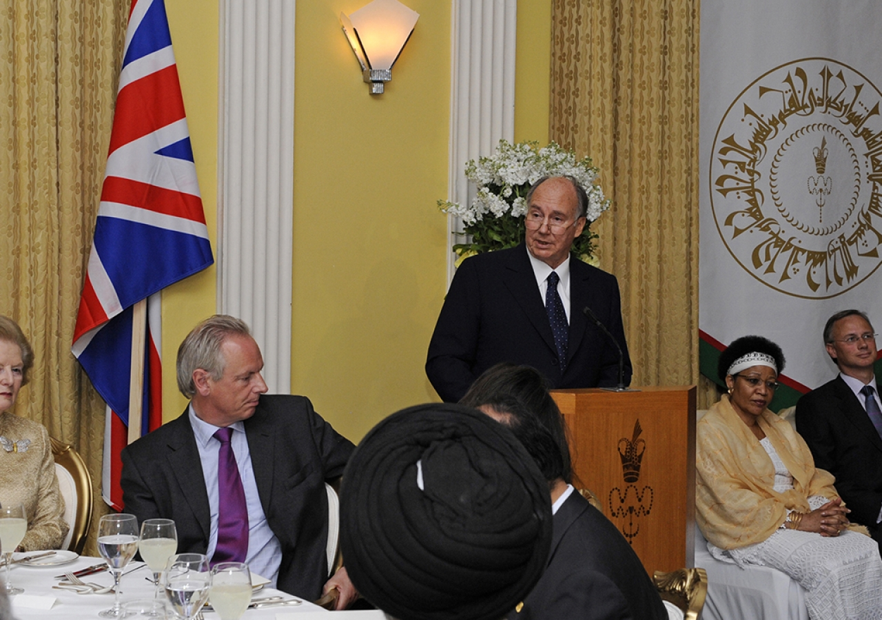 Mawlana Hazar Imam addressing guests at the dinner he hosted for diplomats and senior government officials as well political and civil society leaders from across the United Kingdom, London, 3 July 2008.