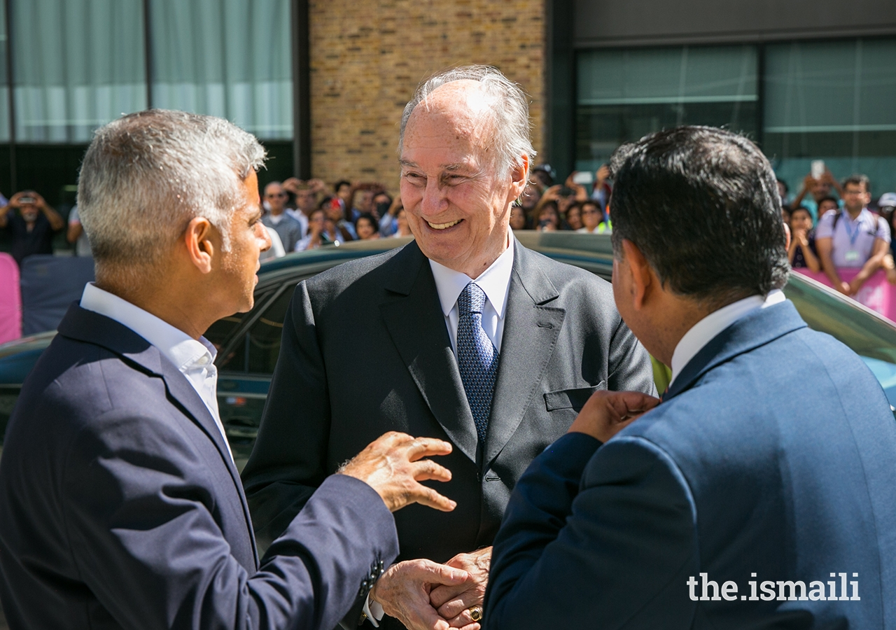 Mawlana Hazar Imam receives Mayor of London Sadiq Khan to the Aga Khan Centre, as Lord Ahmad of Wimbledon looks on.
