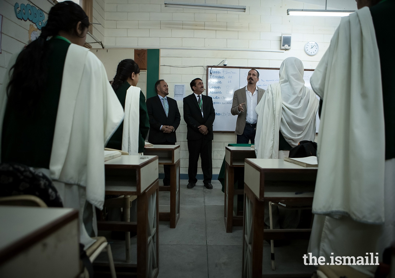 Prince Rahim with students and management at the Aga Khan Higher Secondary School Gahkuch located in Punial Valley, Ghizer District in Gilgit-Baltistan.