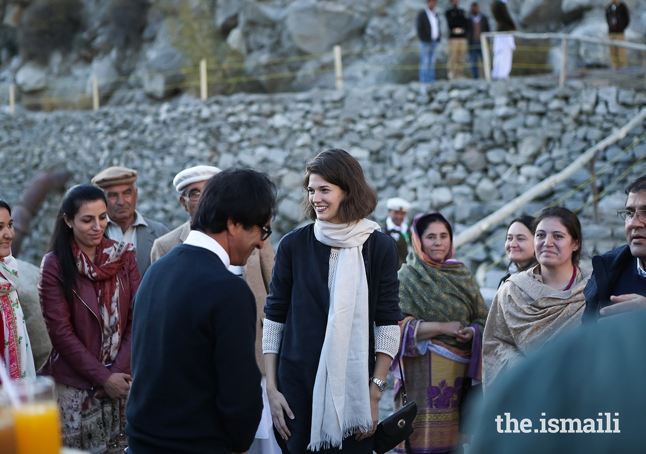 Princess Salwa with members of the local Village and Women's Organizations (V/WOs) at the Ahmedabad community-based Hydro Power Project located in the village of Ahmedabad, on the banks of the Hunza River in the valley of Central Hunza. The Aga Khan Rural Support Programme (AKRSP), together with other partners, has provided financial and technical assistance to the project.