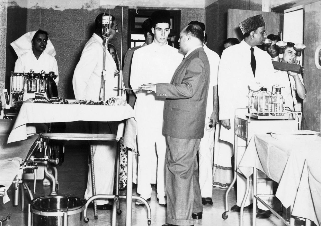 Mawlana Hazar Imam at the Prince Aly Khan Hospital. (Mumbai, 1958) A. H. Ukani