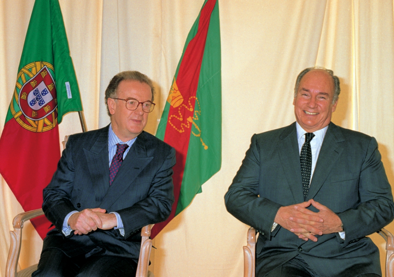 Portuguese President Jorge Sampaio and Mawlana Hazar Imam at the Foundation Ceremony of the Ismaili Centre, Lisbon.