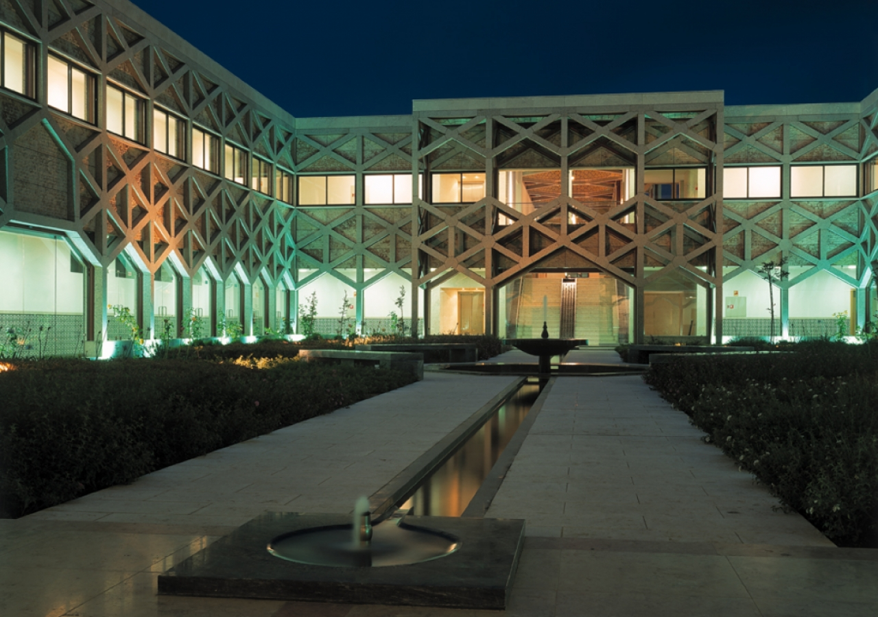 Cool water courses through the courtyard at dusk at the Ismaili Centre, Lisbon.