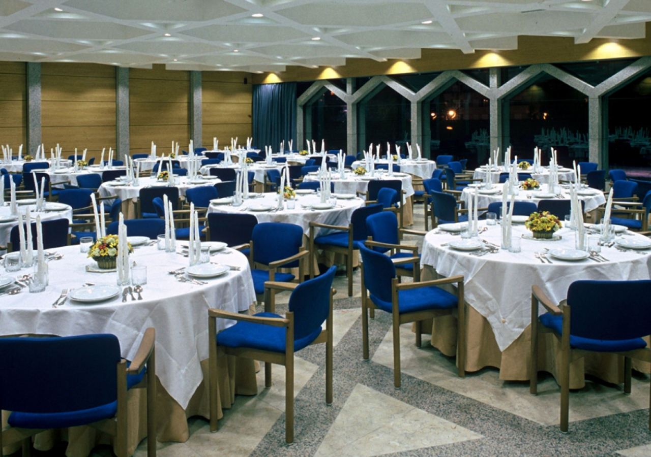 Tables are set in the Multipurpose Hall at the Ismaili Centre, Lisbon.