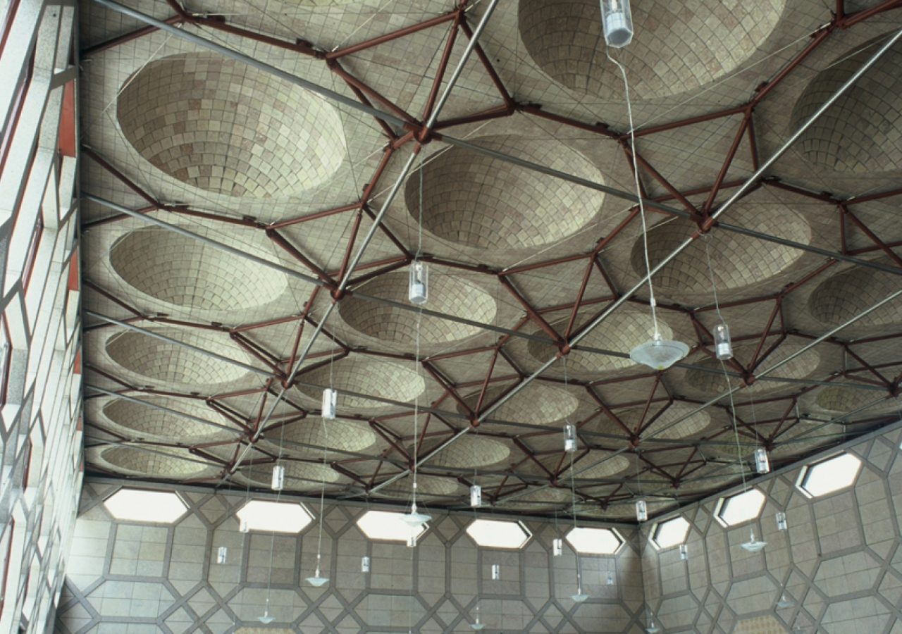 The inner space — looking up at the domes from within.