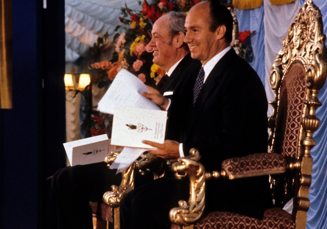 Mawlana Hazar Imam presided over the inauguration of the Ismaili Centre site at Cromwell Road, while Lord Soames performed the ceremony of foundation.