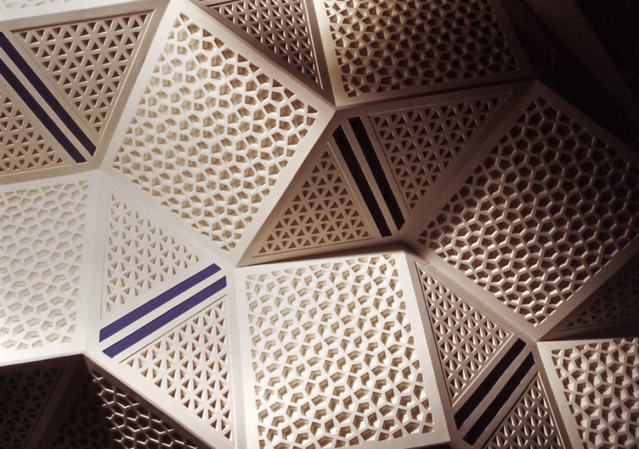 The honey comb ceiling (muqarnas) designed by Karl Schlamminger is a relief seeking design that gives a sense of greater height.