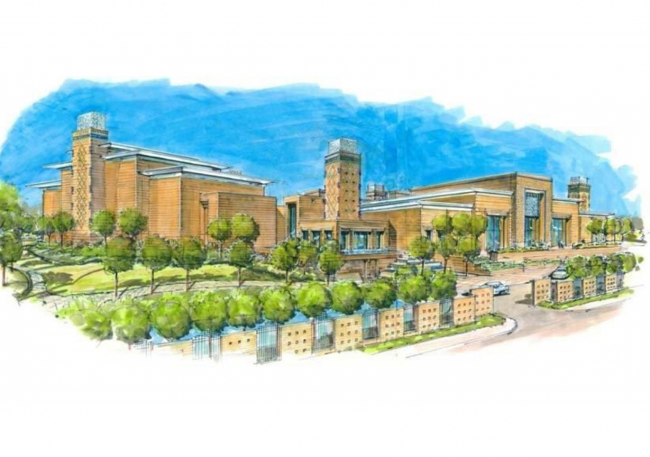 Artists impression of the Ismaili Centre, Dushanbe