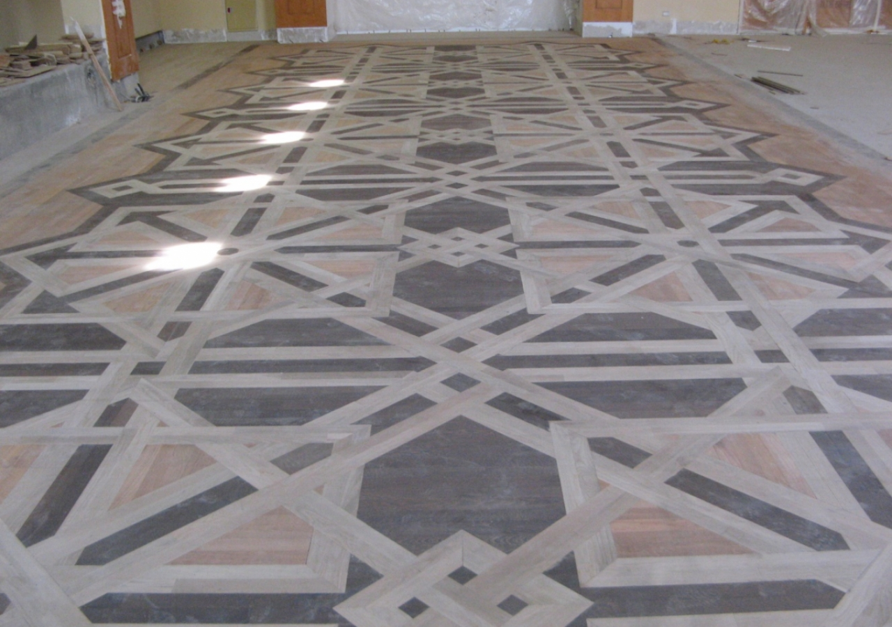 May 2009: The wooden floor being installed in the Social Hall of the Centre.