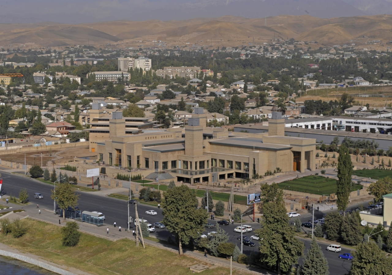 October 2009: A bird's eye view of the Ismaili Centre, Dushanbe, only days before its inauguration.