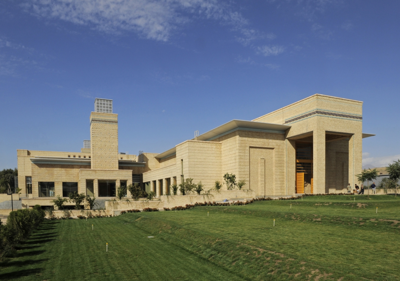 Looking across the lawn towards the Main Entrance of the Ismaili Centre, Dushanbe.