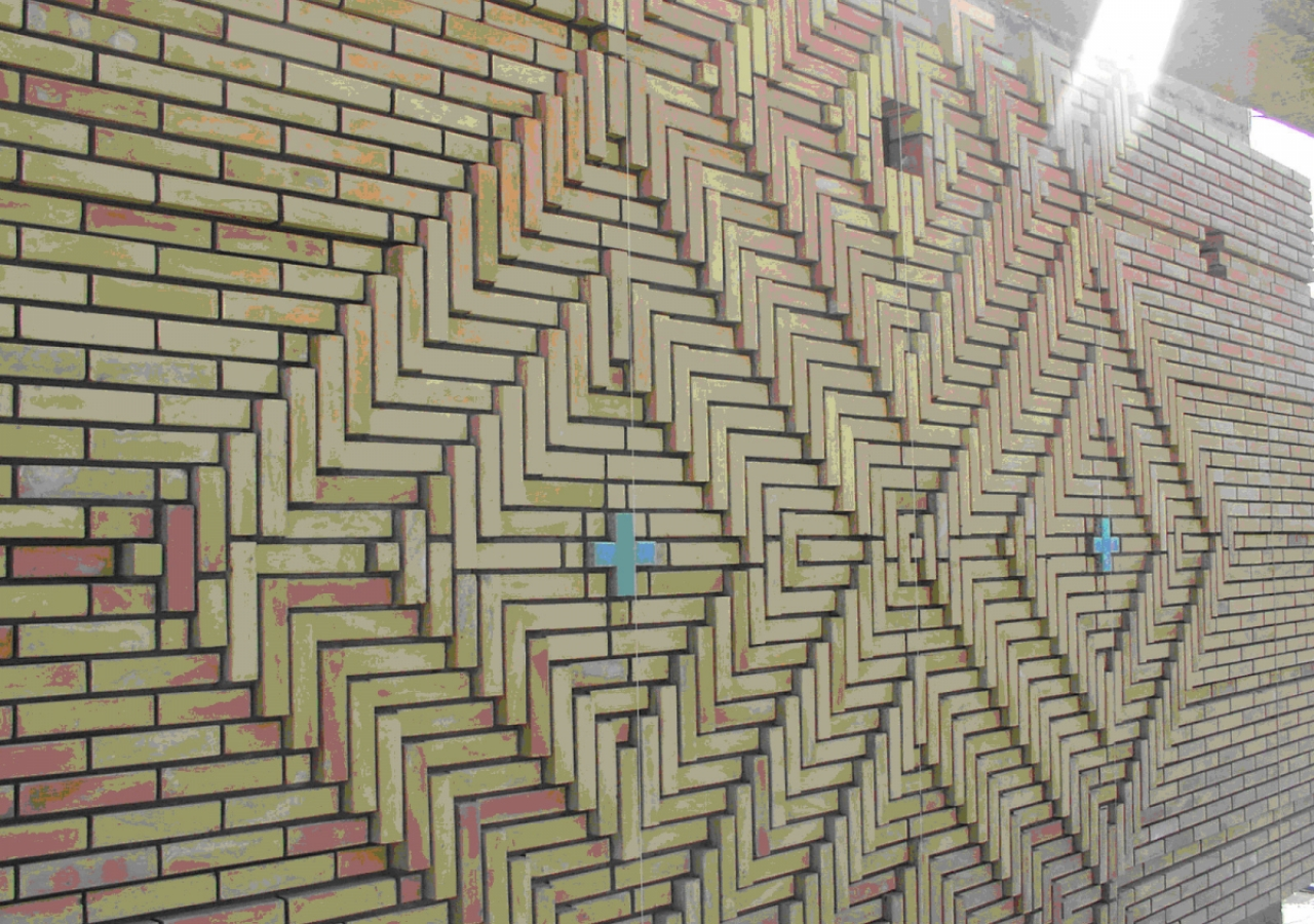 August 2007: A detailed view of the patterned brickwork in the Social Hall.