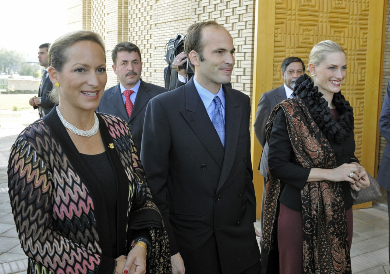 Princess Zahra, Prince Hussain and Princess Khaliya arrive at the Ismaili Centre, Dushanbe for its opening.