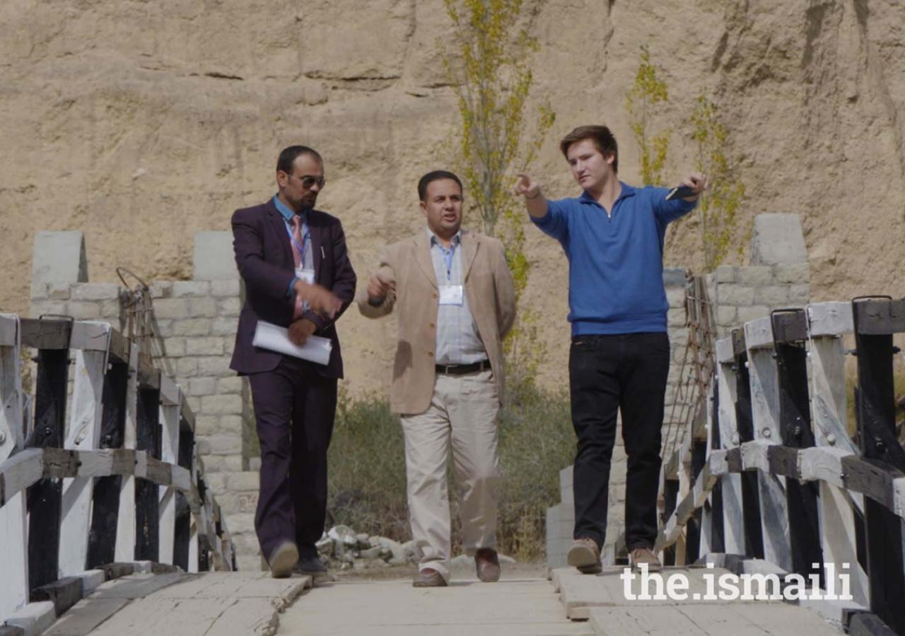Prince Aly Muhammad visiting a newly constructed bridge by AKRSP in Chipursan, Hunza, Gilgit-Baltistan.