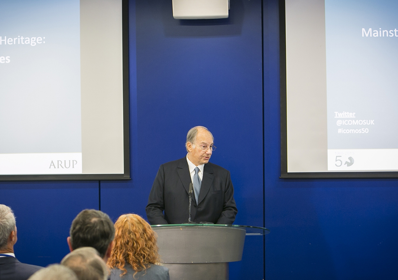 Mawlana Hazar Imam addressing the ICOMOS 50th Anniversary conference, London, 22 October 2015.