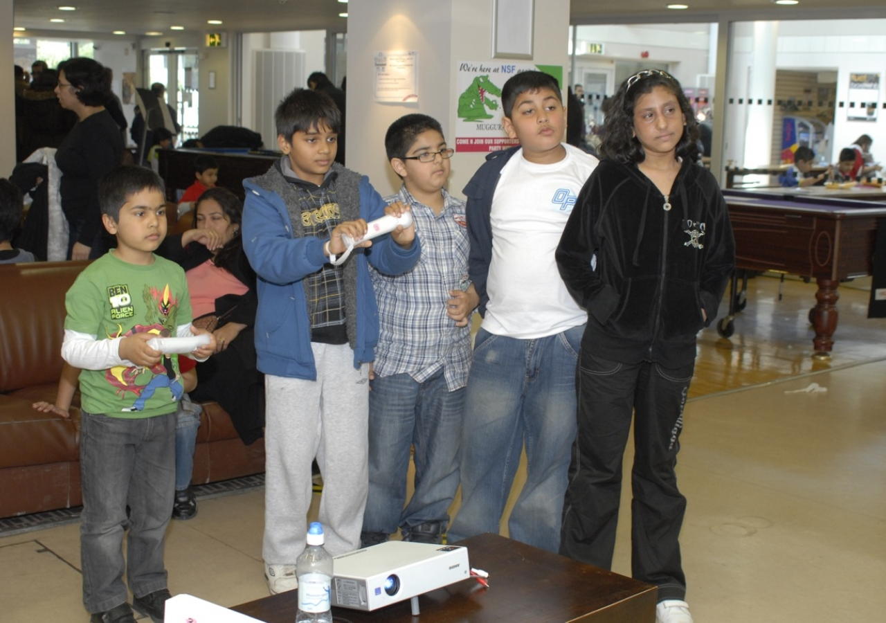 Children compete in the Nintendo Wii competition