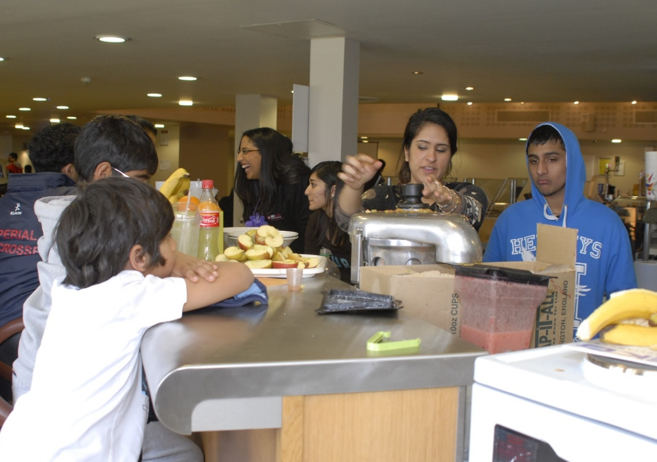 "Fresh fruit juices and smoothies being prepared by the Ismaili Student Network ""Juice-wallas""."