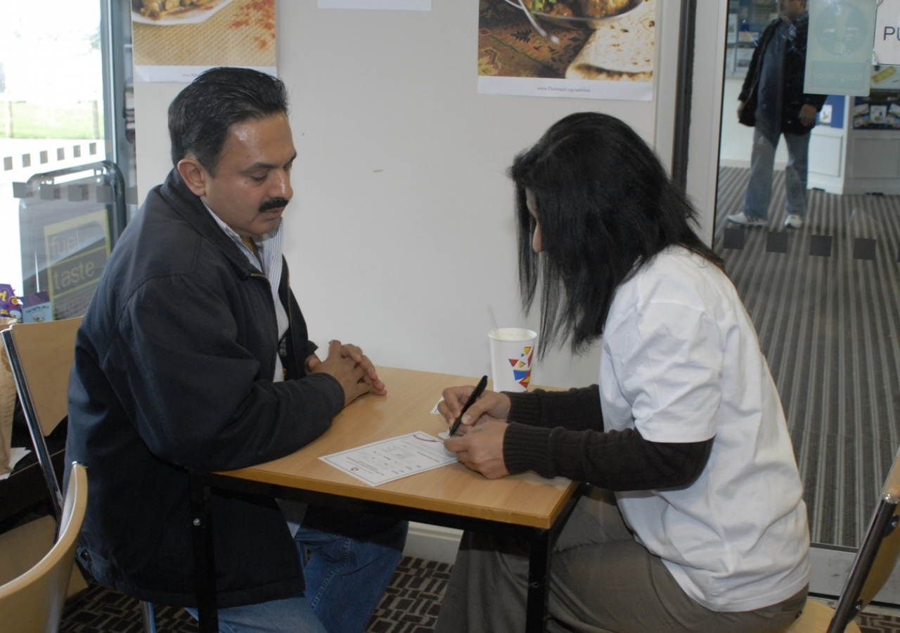 A Jamati member receiving health advice at the Aga Khan Health Board wellness clinic.