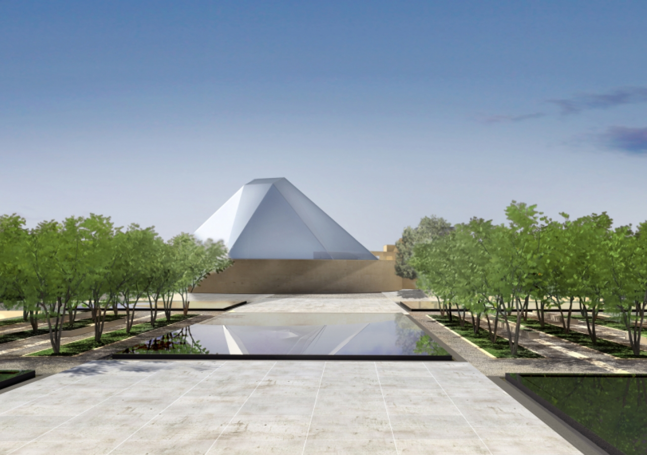 Artist rendering of a view of the Ismaili Centre, Toronto from the formal gardens.