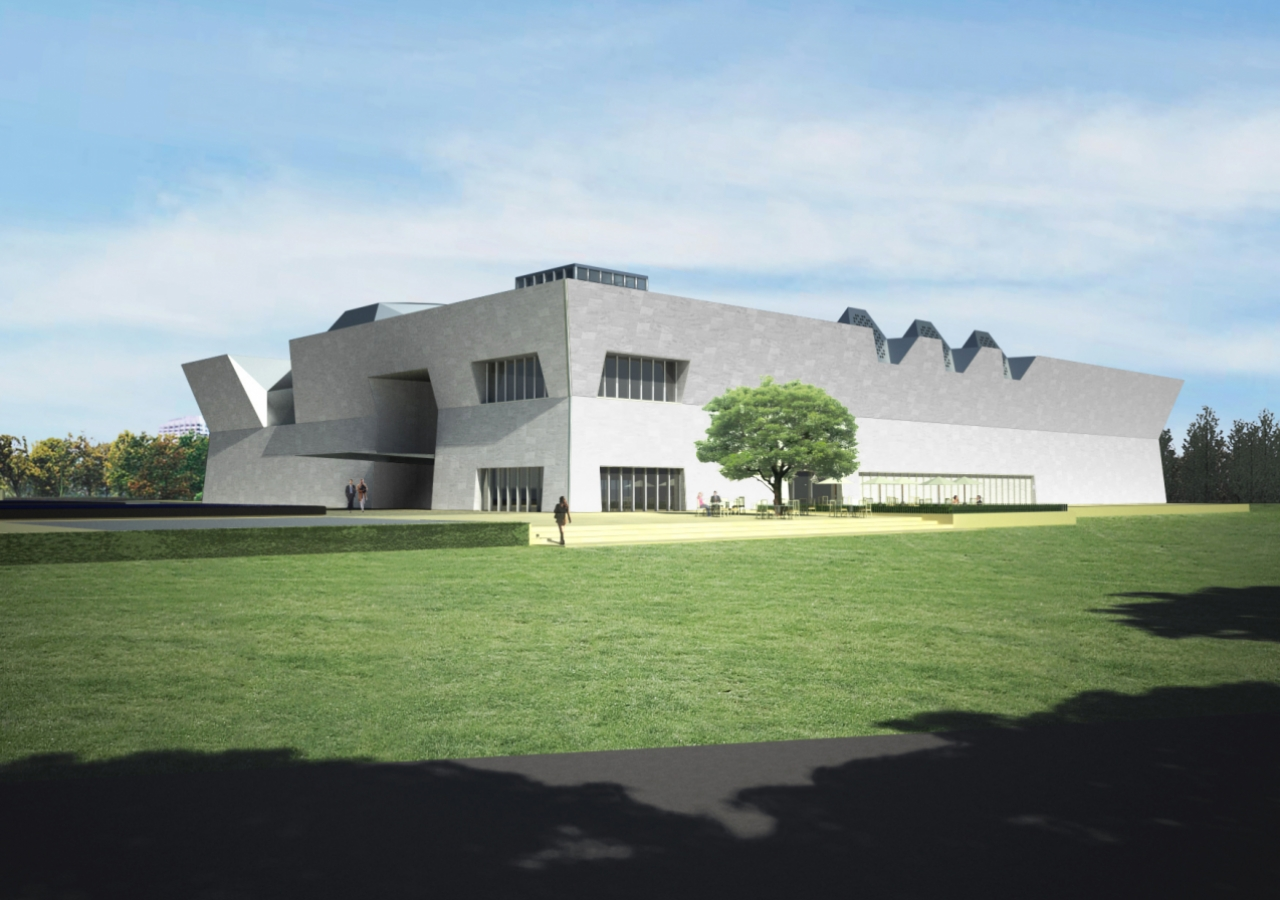 Artist rendering of the Aga Khan Museum that will be adjacent to the Ismaili Centre, Toronto. The two buildings will share a common park.