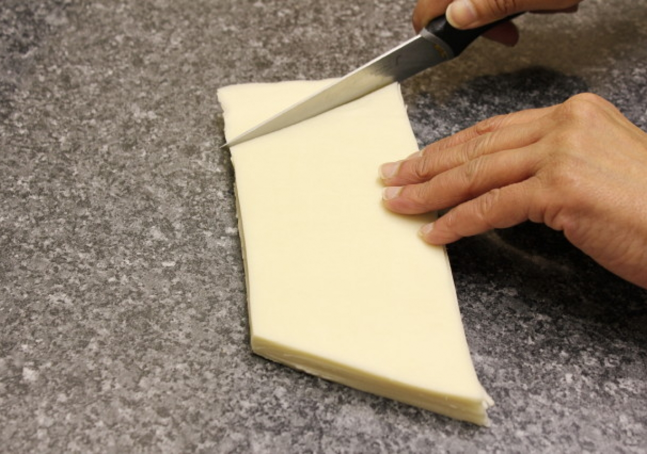 1. Cut the corners of the rectangles of pastry so they look like a roof top.