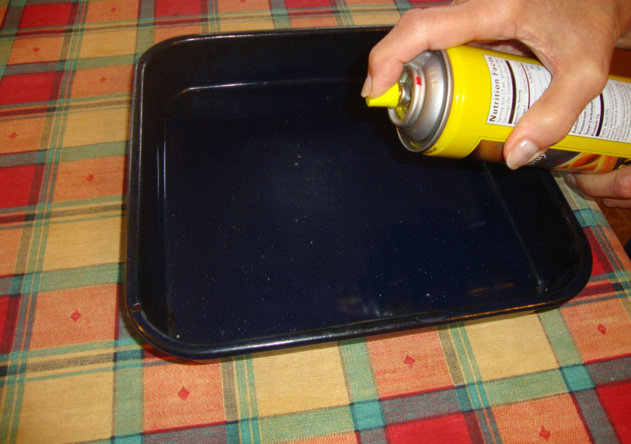 15. Use  spray oil for greasing the tray, as it helps you to use less oil.