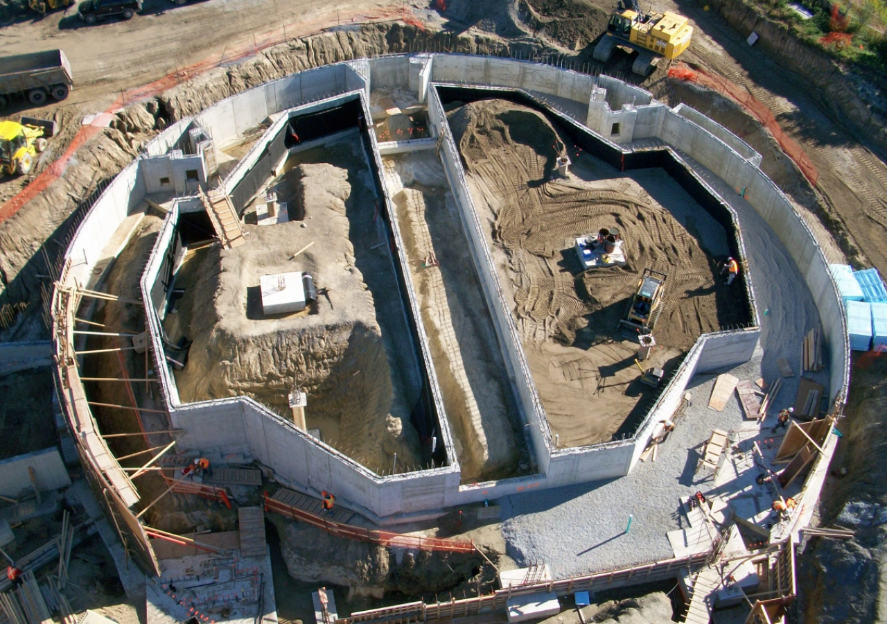 The foundation of the Prayer Hall of the Ismaili Centre, Toronto as seen from a construction crane on 1 October 2010.