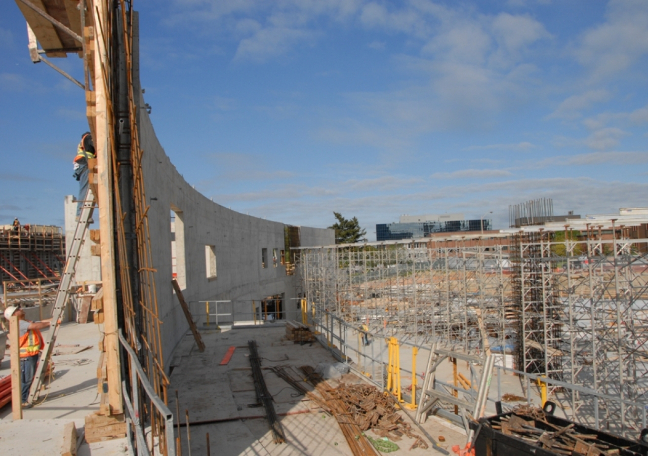 May 2011: The curved wall of the Ismaili Centre, Toronto facing Wynford Drive will welcome visitors with an open gesture.