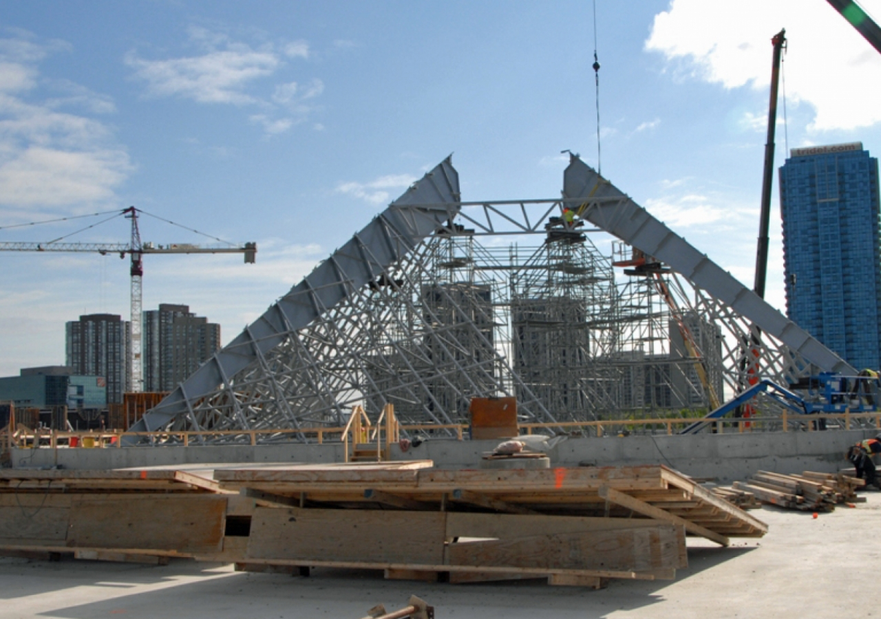 May 2011: The steel frame of the glass roof of the Ismaili Centre, Toronto, began to take shape in May 2011.