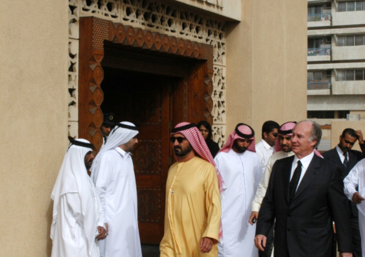 His Highness General Sheikh Mohammed Bin Rashid Al Maktoum, Crown Prince of Dubai and Minister of Defence, United Arab Emirates and Mawlana Hazar Imam leaving the Dubai Museum.