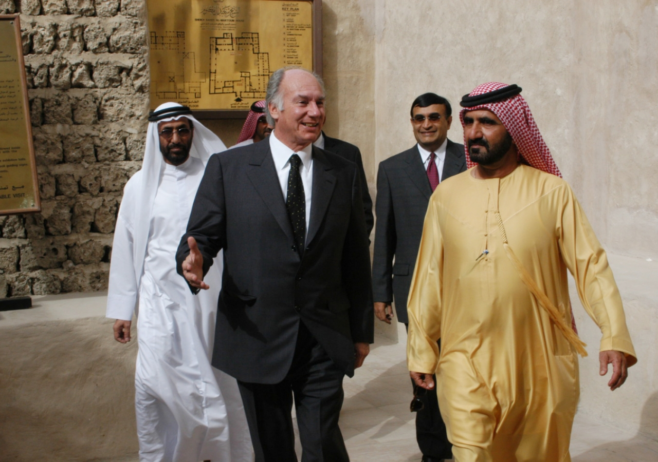 His Highness General Sheikh Mohammed Bin Rashid Al Maktoum, Crown Prince of Dubai and Minister of Defence, United Arab Emirates takes Mawlana Hazar Imam on a tour of Sheikh Saeed Al Maktoum House in Dubai.
