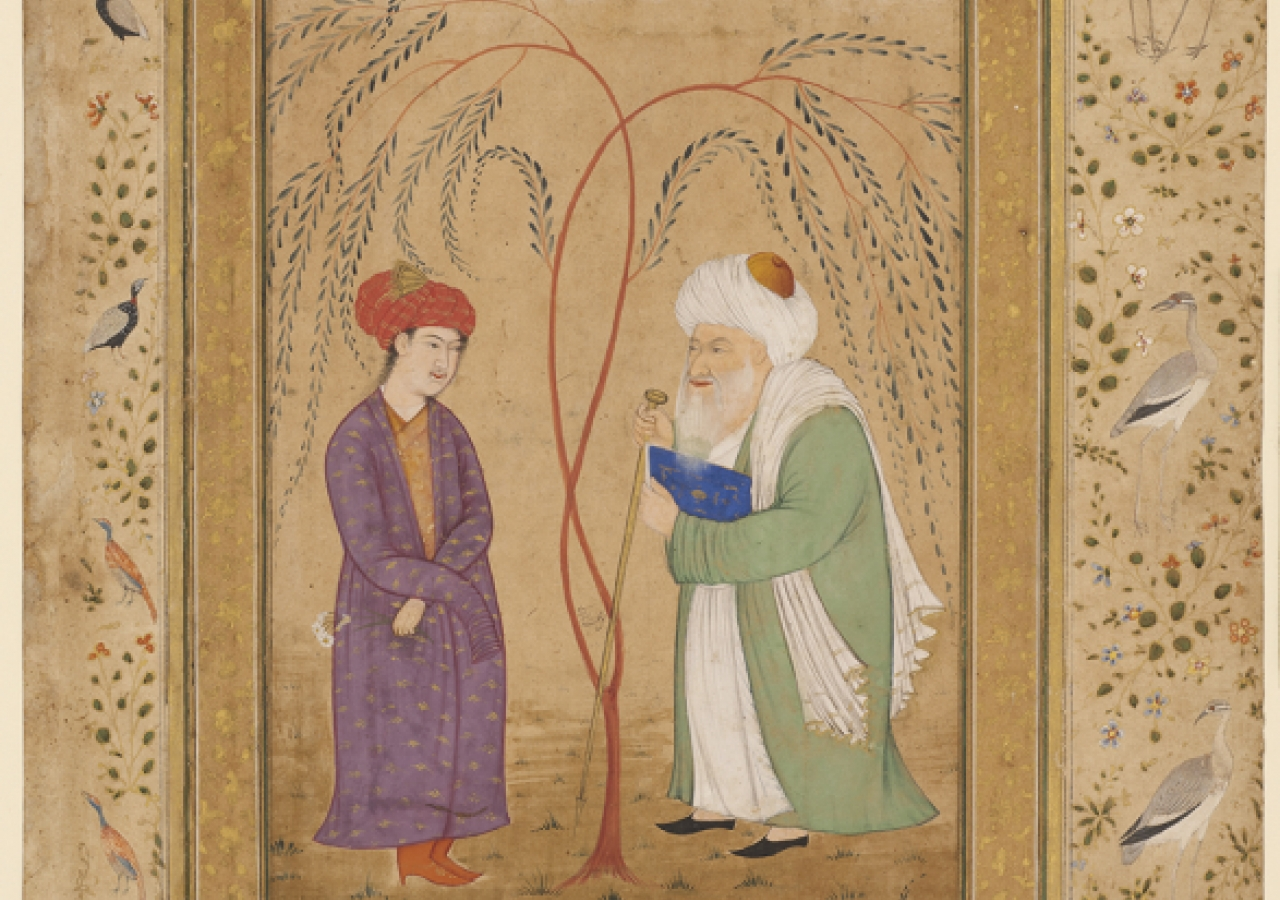 A meeting of youth and old age - Signed Muhammad Nadir al-Samarqandi (illustration) and Mansur (borders), Kashmir, India, about 1630 (illustration) and about 1640 (Borders). Paper, opaque watercolour, gold.
