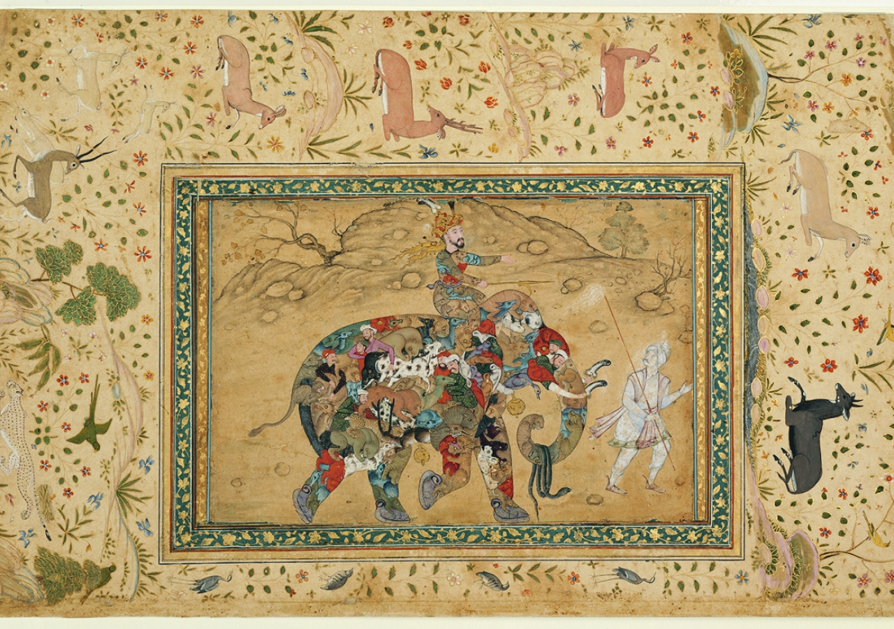 Composite of elephant and rider, in a border of wild game - Borders by Dawlat Kalan Agra, India, about 1600 (illustration) and about 1640 (borders). Paper, opaque watercolour, gold.