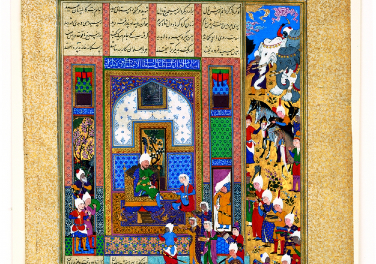 Sindukht and her courtiers bring gifts to the Court of Sam - Folio 84v from the Shahnameh made for Shah Tahmasp I, Tabriz, Iran, about 1522-1535. Paper, ink, opaque watercolour, gold.