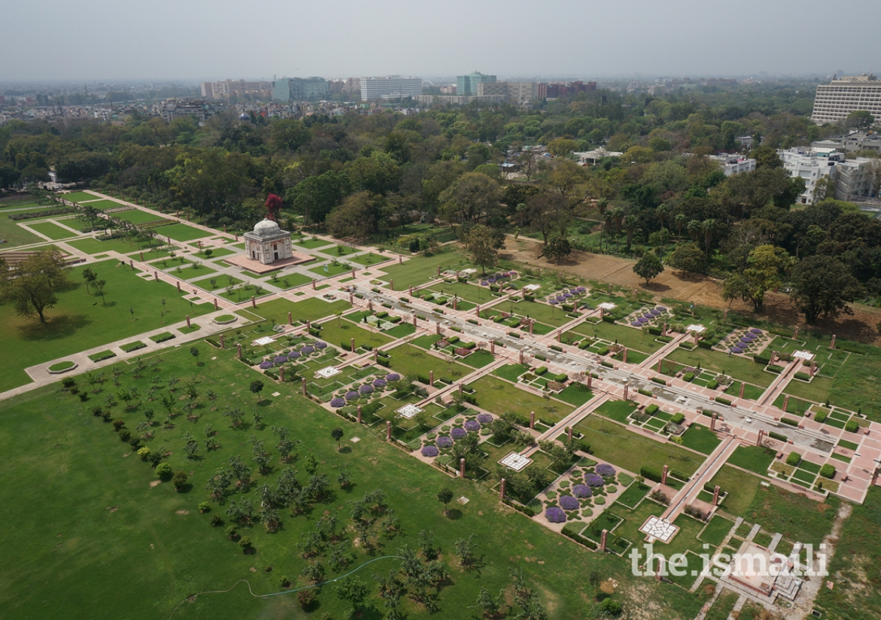 Aerial view over the newly constructed main spine of the Sunder Nursery public garden.