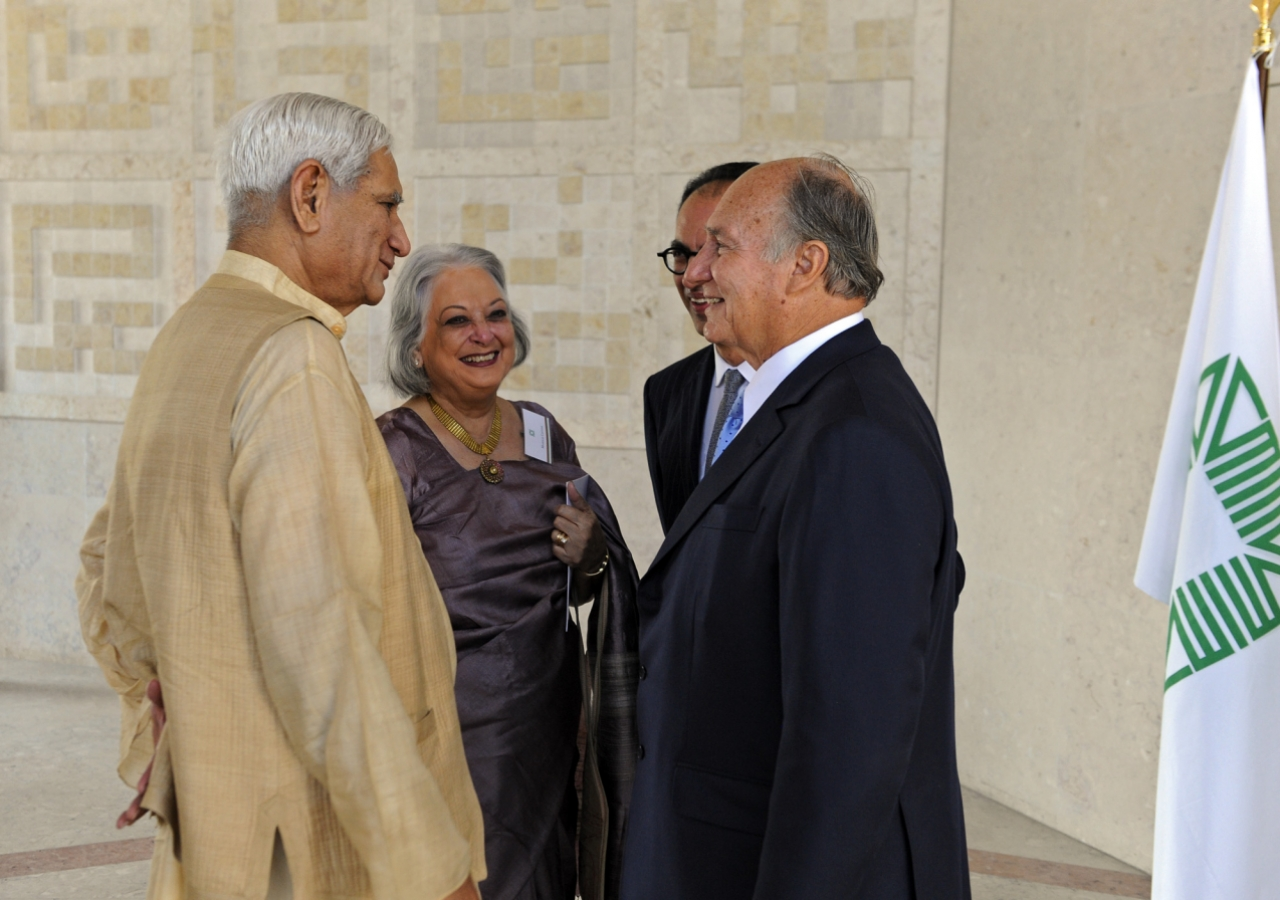 Mawlana Hazar Imam welcomes Charles Correa to a luncheon hosted ahead of the Aga Khan Award for Architecture Awards at the Ismaili Centre Lisbon. Professor Correa was a member of the 1980, 1983, 1986, 2001, 2004 Award Steering Committees, and of the 1989