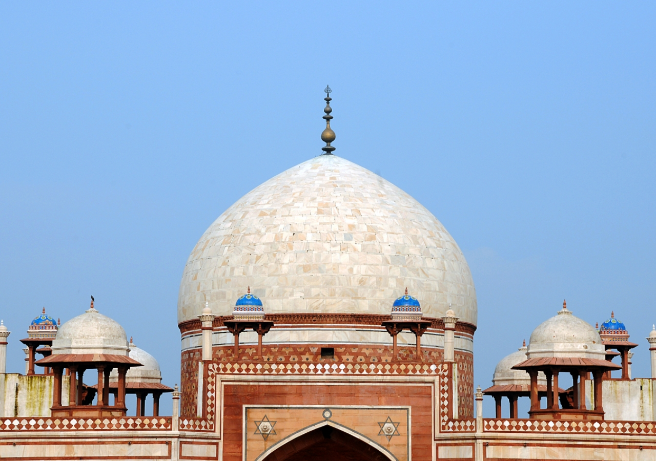 The newly restored dome of Humayun's Tomb, in Delhi.